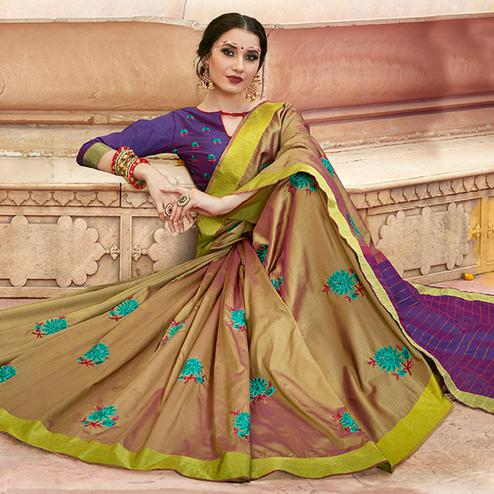 Dazzling Olive Green - Purple Colored Festive Wear Embroidered Satin Silk Saree