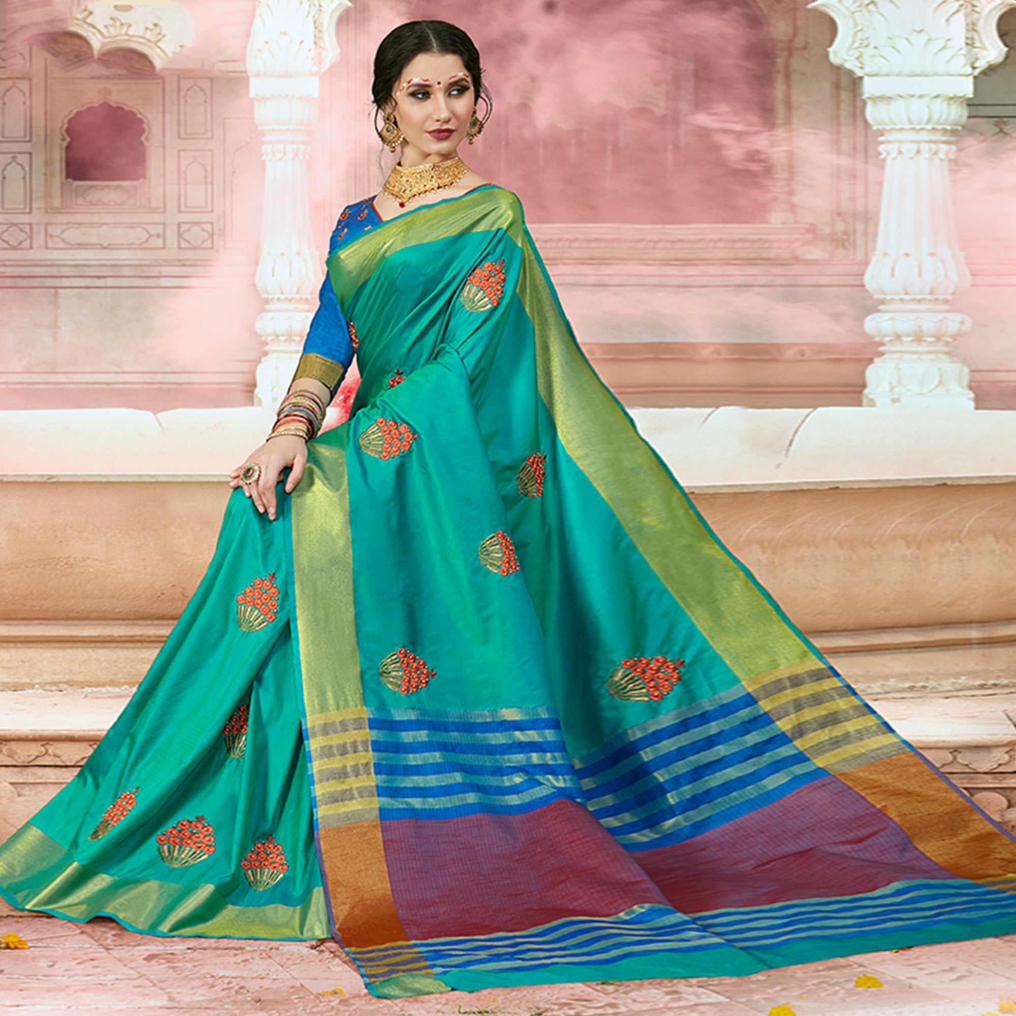 Breathtaking Turquoise Blue Colored Festive Wear Embroidered Silk Saree