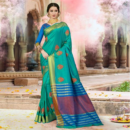 Breathtaking Turquoise Blue Colored Festive Wear Embroidered Satin Silk Saree