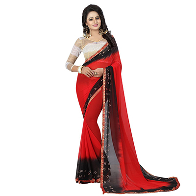 Red - Black Bandhani Style Chiffon Saree