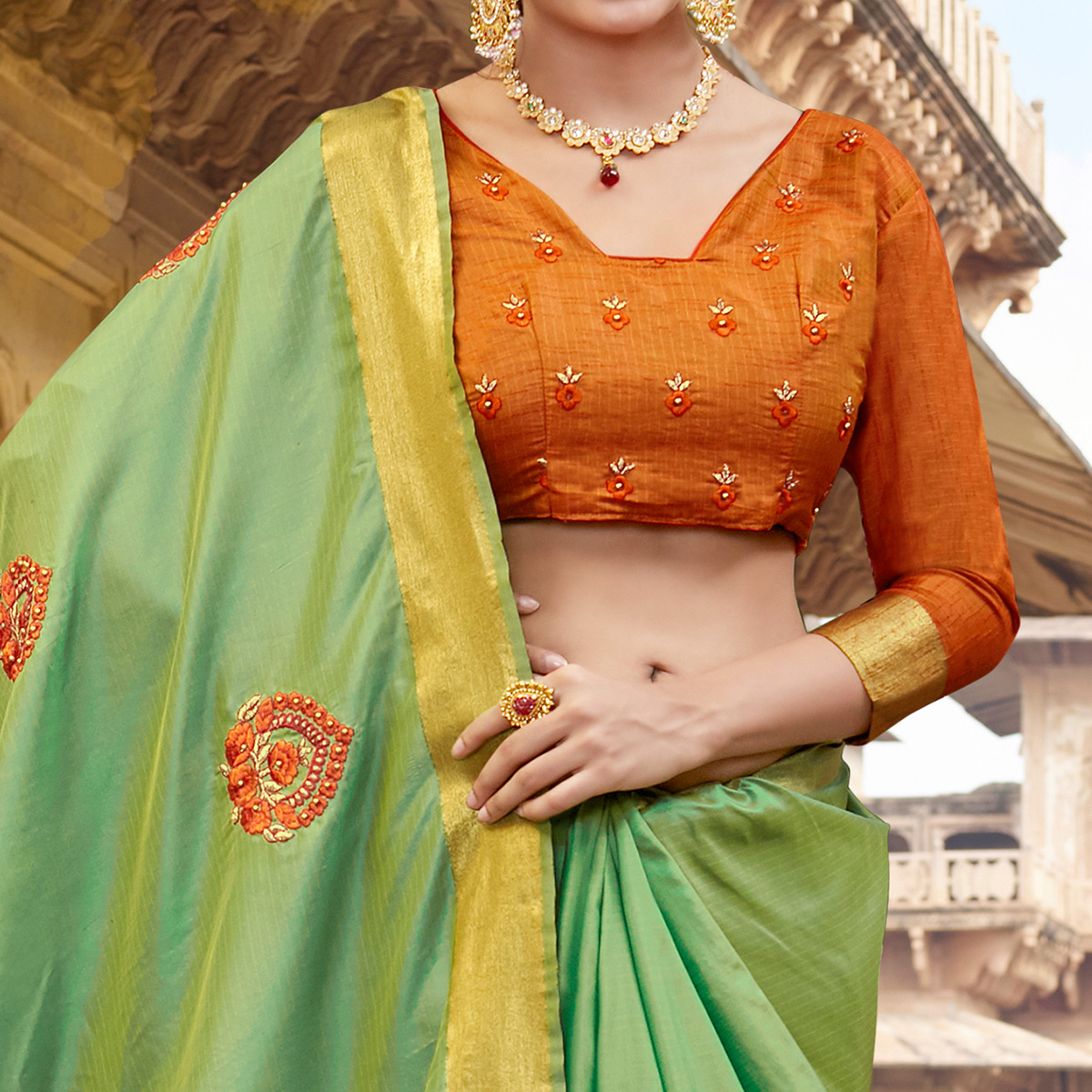 Impressive Light Green Colored Festive Wear Embroidered Silk Saree