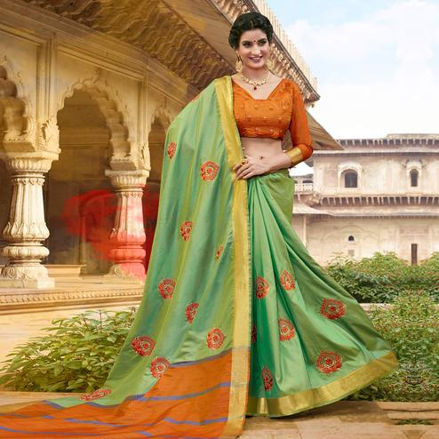 Impressive Light Green Colored Festive Wear Embroidered Satin Silk Saree