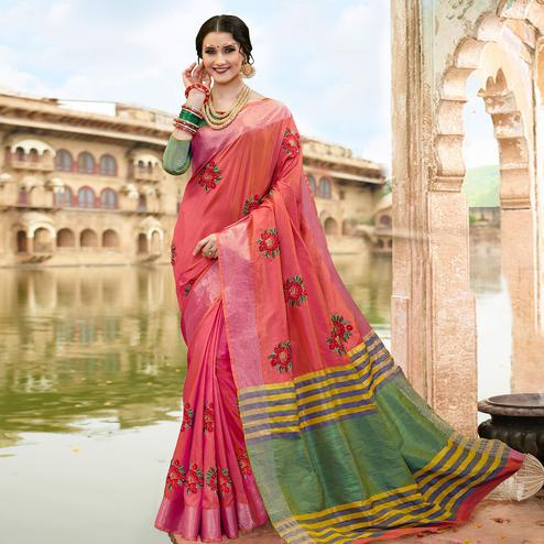 Innovative Pink Colored Festive Wear Embroidered Satin Silk Saree