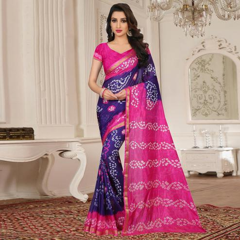 Marvellous Purple - Pink Colored Casual Wear Printed Tapeta Silk Saree