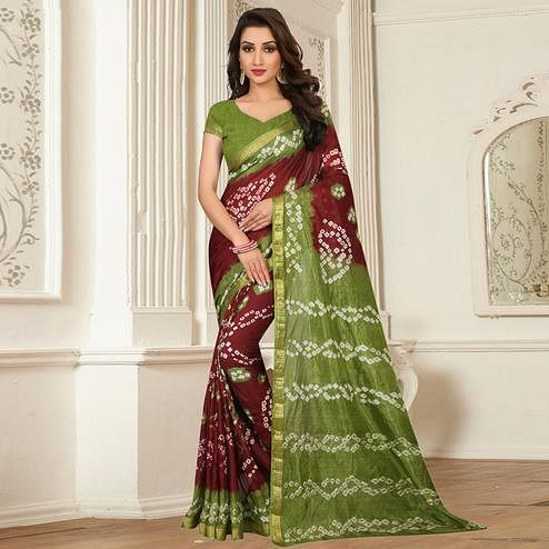 Ravishing Maroon - Green Colored Casual Wear Printed Tapeta Silk Saree