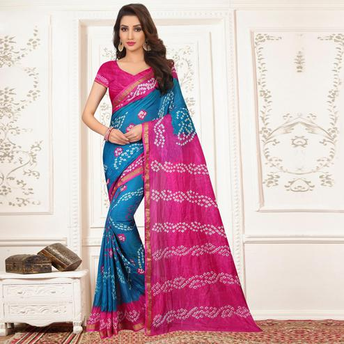 Eye-catching Blue - Pink Colored Casual Wear Printed Tapeta Silk Saree