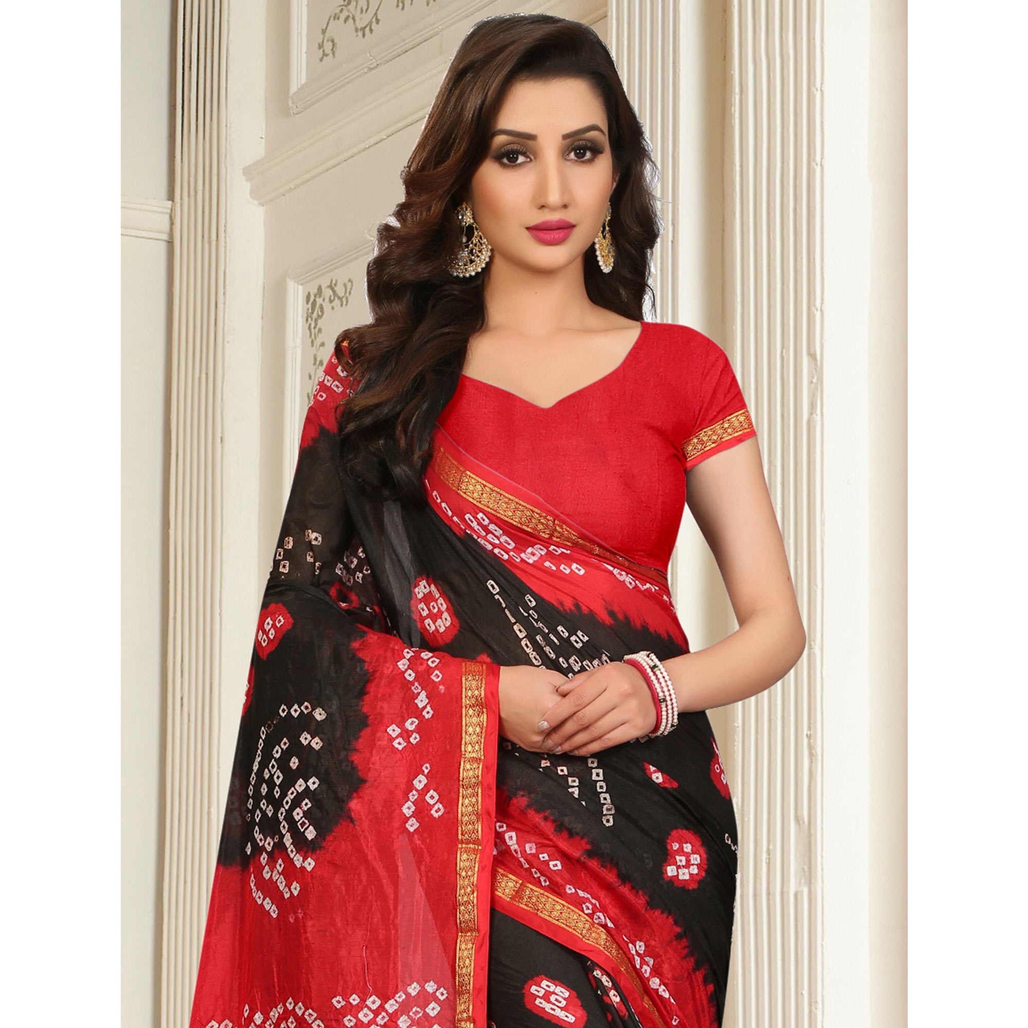 Amazing Black - Red Colored Casual Wear Printed Tapeta Silk Saree