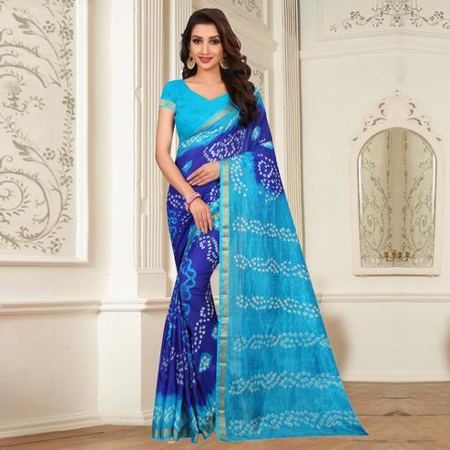 Exotic Blue - Turquoise Blue Colored Casual Wear Printed Tapeta Silk Saree