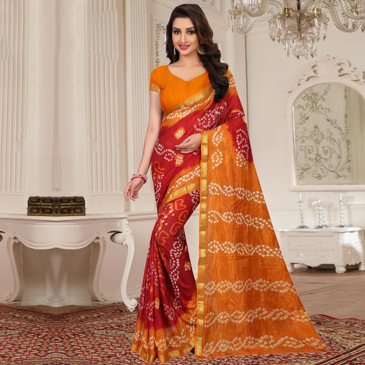 Majesty Red - Mustard Yellow Colored Casual Wear Printed Tapeta Silk Saree