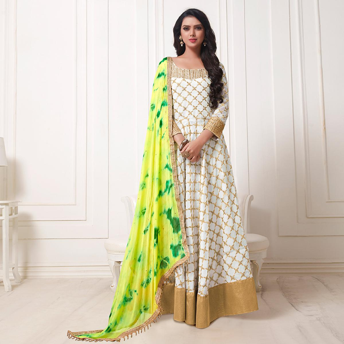 Flirty Off-White Colored Party Wear Embroidered Georgette Anarkali Suit