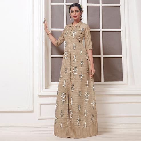 Glowing Beige Colored Party Wear Embroidered Khadi Silk Suit