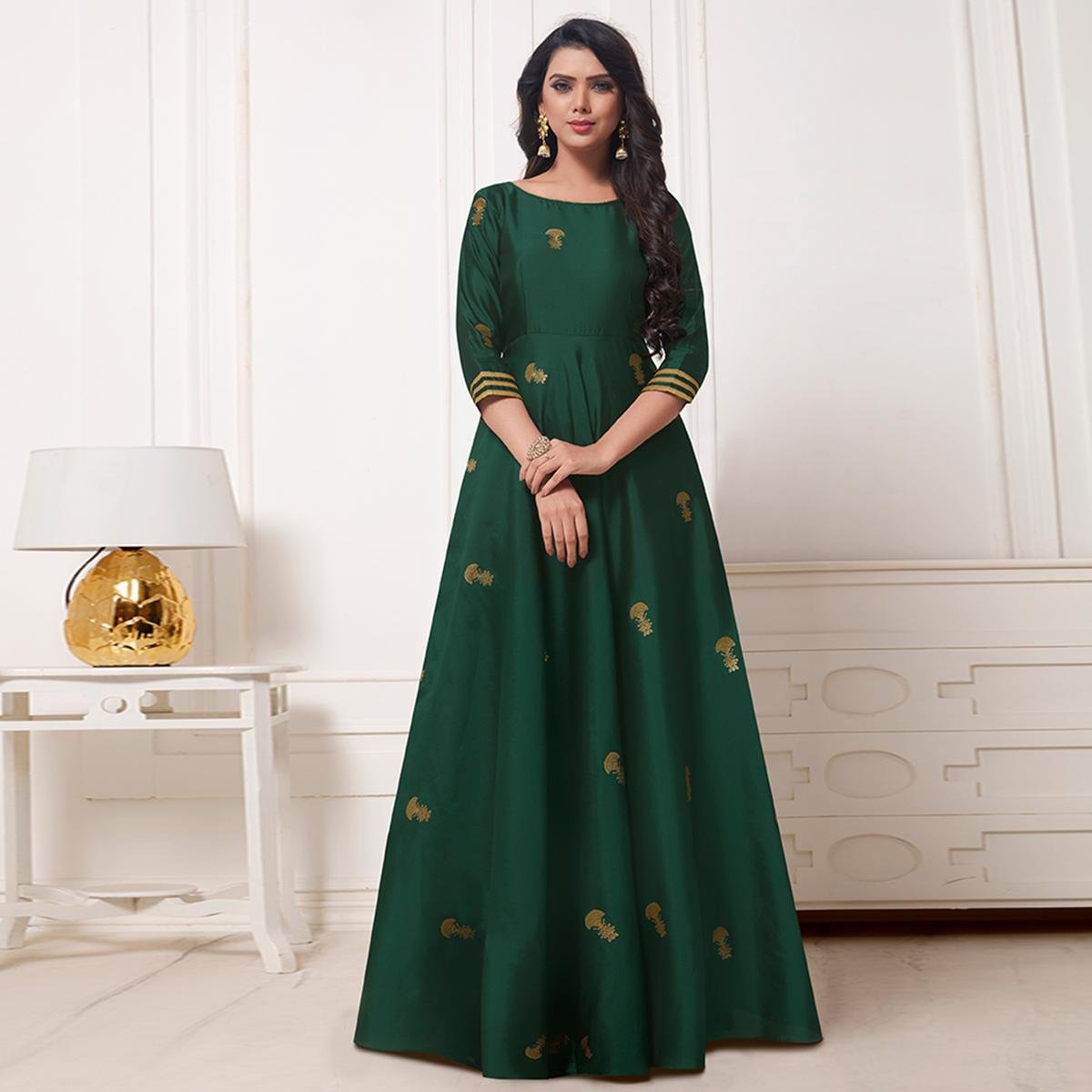 Captivating Pine Green Colored Party Wear Woven Satin Jacquard Gown