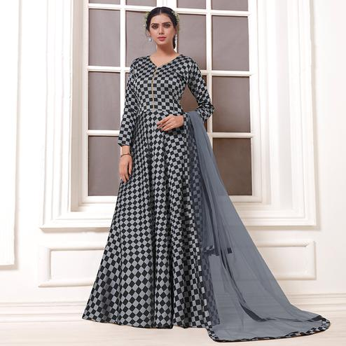 Hypnotic Grey & Black Colored Party Wear Printed Tapetta Silk Anarkali Suit