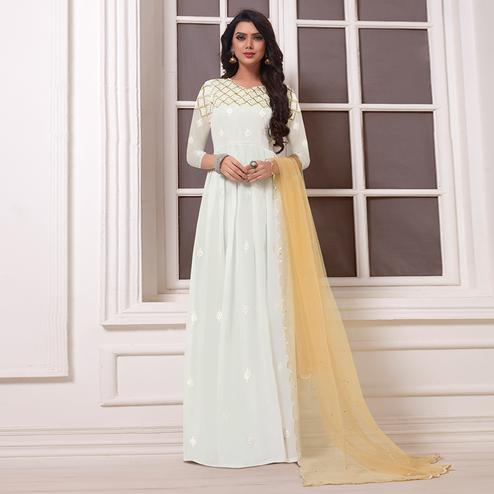 Appealing White Colored Party Wear Embroidered Georgette Anarkali Suit