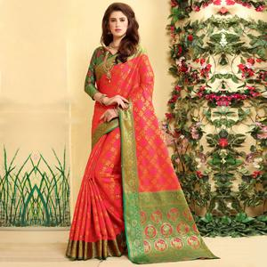 Gorgeous Dark Pink Colored Festive Wear Woven Jacquard Silk Saree