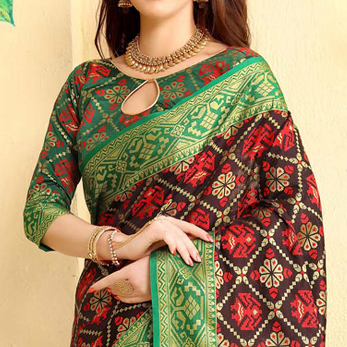 Classy Dark Brown Colored Festive Wear Woven Jacquard Silk Saree
