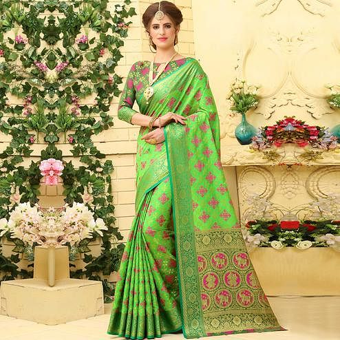 Graceful Light Green Colored Festive Wear Woven Jacquard Silk Saree
