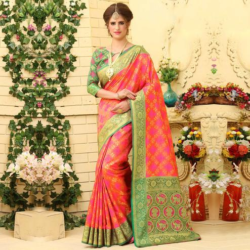 Lovely Rani Pink Colored Festive Wear Woven Jacquard Silk Saree