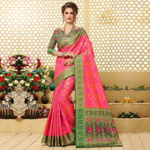 Charming Fuschia Pink Colored Festive Wear Woven Jacquard Silk Saree