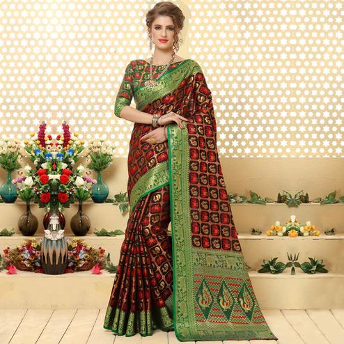 Ravishing Dark Brown Colored Festive Wear Woven Jacquard Silk Saree