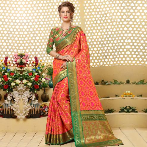 Delightful Peach-Pink Colored Festive Wear Woven Jacquard Silk Saree
