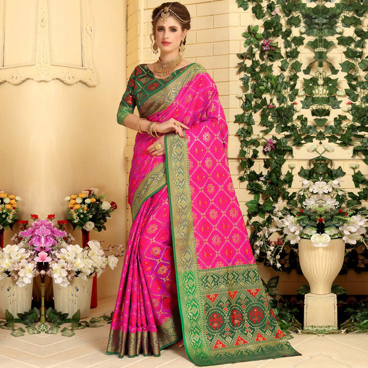 Stunning Rani Pink Colored Festive Wear Woven Jacquard Silk Saree