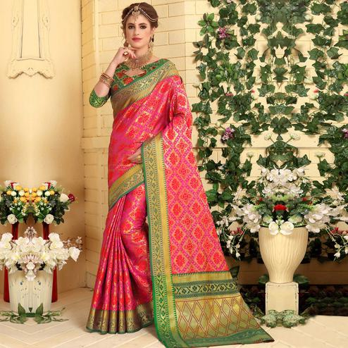 Blooming Pink Colored Festive Wear Woven Jacquard Silk Saree