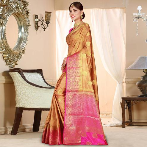 Adorable Light Brown Colored Festive Wear Woven Art Silk Saree