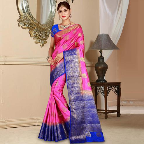Attractive Pink Colored Festive Wear Woven Art Silk Saree