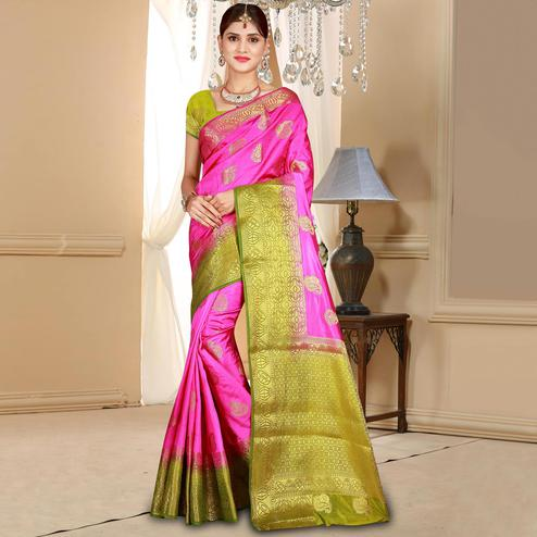 Beautiful Rani Pink Colored Festive Wear Woven Art Silk Saree
