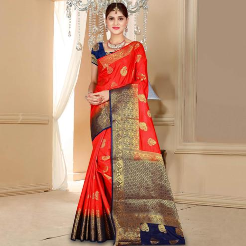 Classy Red Colored Festive Wear Woven Art Silk Saree