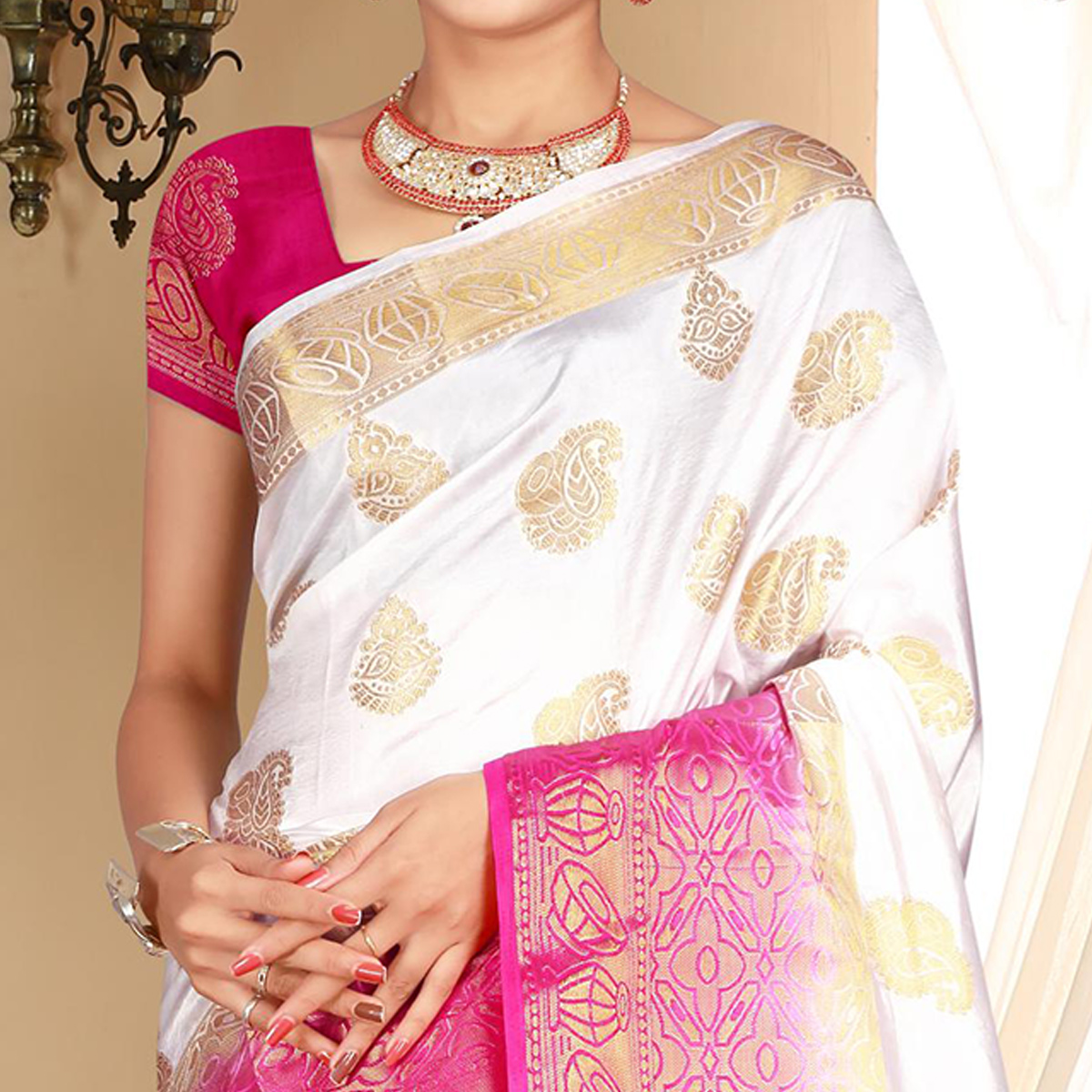 Glorious White Colored Festive Wear Woven Art Silk Saree