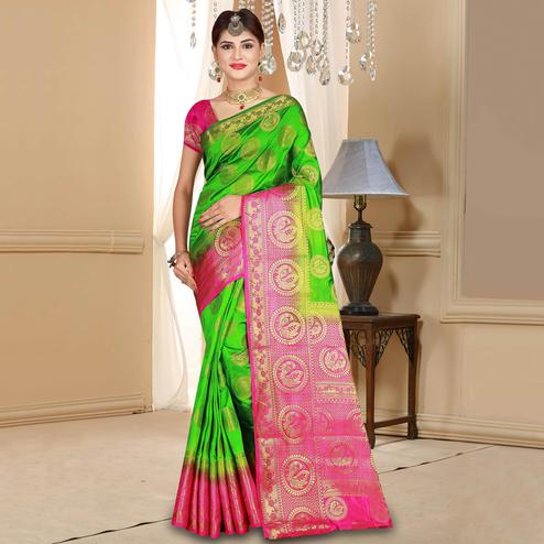Graceful Parrot Green Colored Festive Wear Woven Art Silk Saree