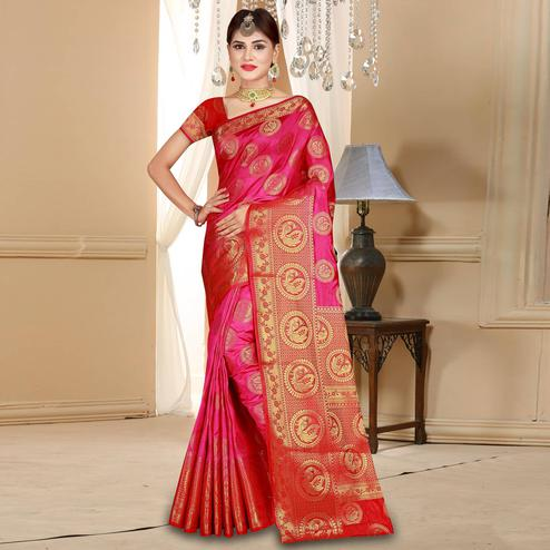 Ravishing Dark Pink Colored Festive Wear Woven Art Silk Saree