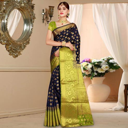 Delightful Navy Blue Colored Festive Wear Woven Art Silk Saree