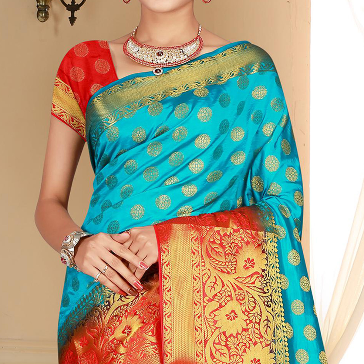 Stunning Turquoise Blue Colored Festive Wear Woven Art Silk Saree