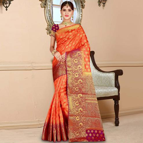 Marvellous Orange-Magenta Colored Festive Wear Woven Art Silk Saree