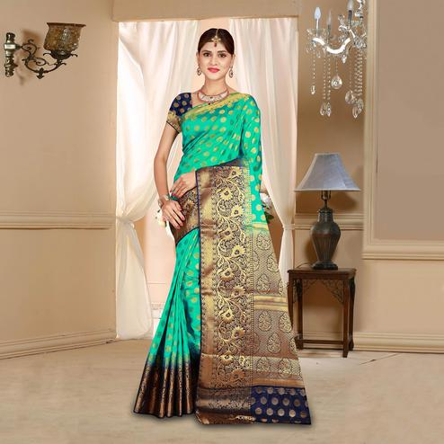 Mesmerising Sea Green Colored Festive Wear Woven Art Silk Saree