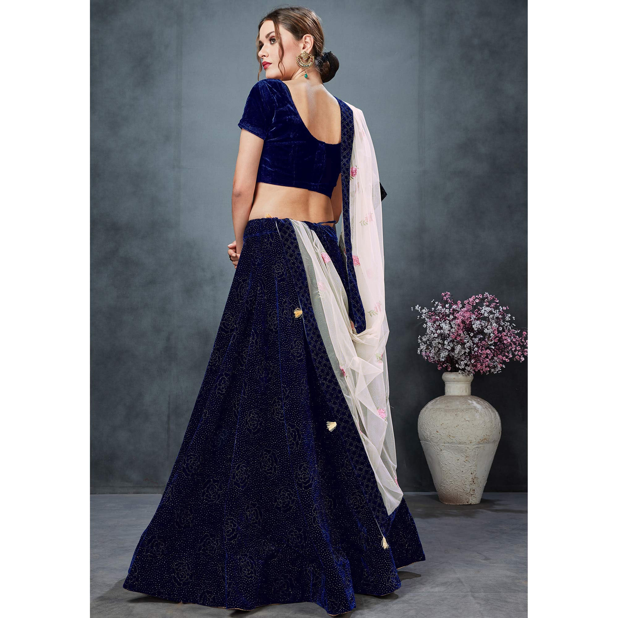 Alluring Navy Blue Colored Party Wear Embroidered Velvet Lehenga Choli