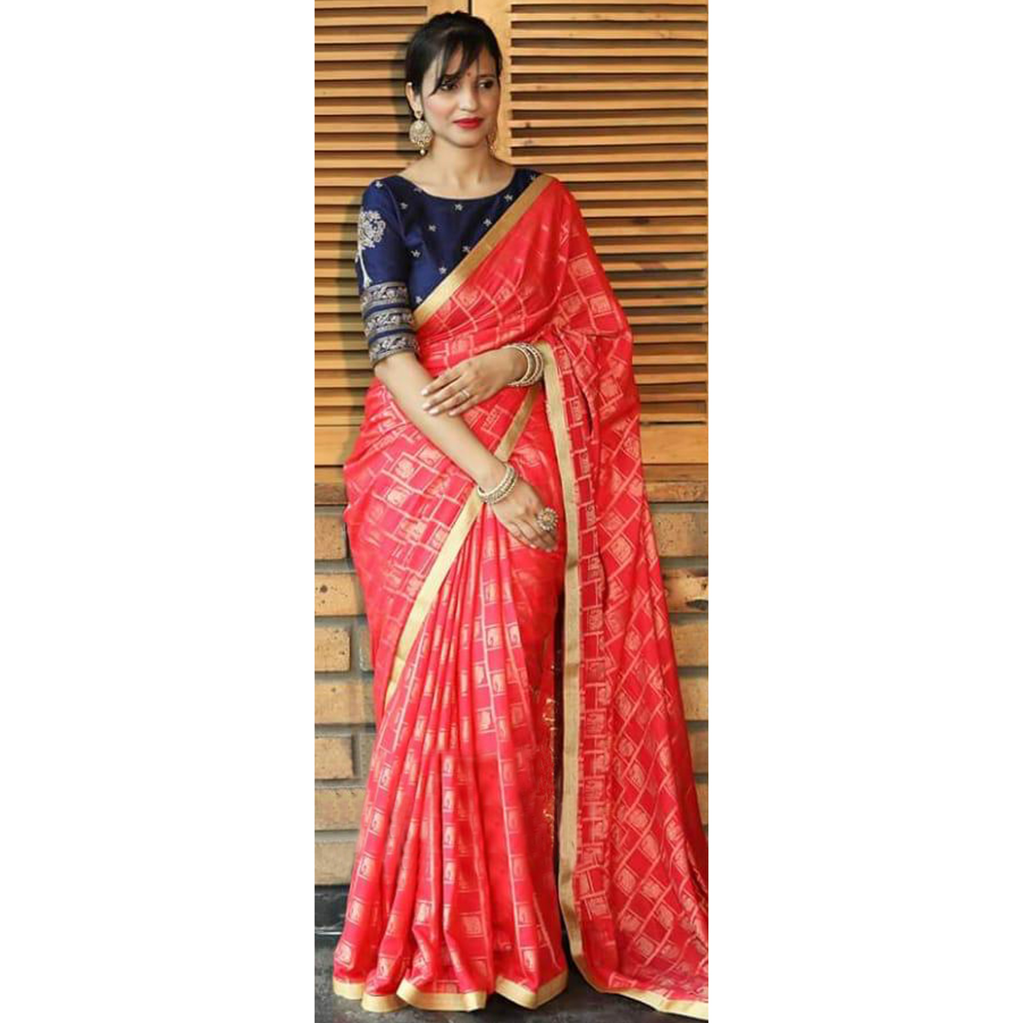 Elegant Pink Colored Party Wear Printed Silk Jacquard Saree