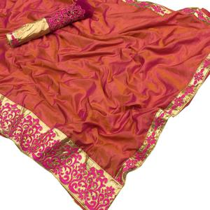 Sensational Orange Colored Party Wear Embroidered Two Tone Silk Saree