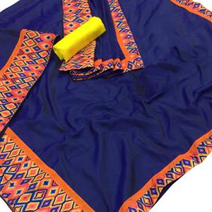 Alluring Navy Blue Colored Party Wear Digital Printed Silk Saree