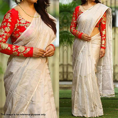 Off White Chanderi Saree with Embroidered Blouse