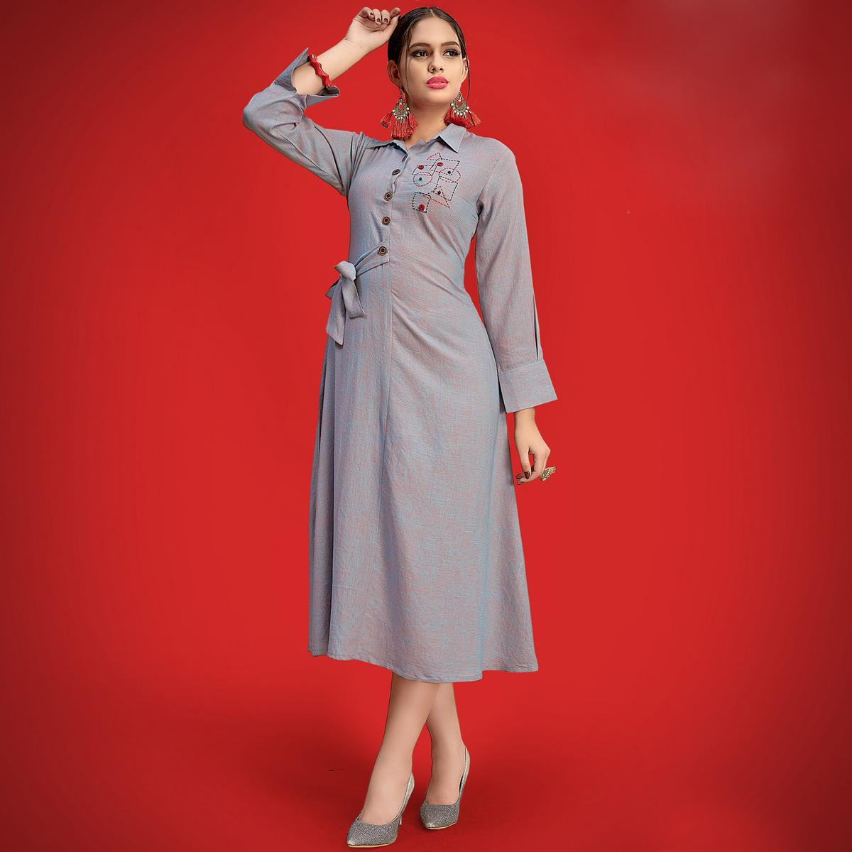 Charming Grey Colored Party Wear Fancy Rayon Kurti
