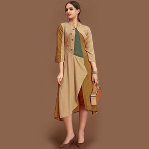 Ravishing Beige Colored Party Wear Fancy Rayon Kurti