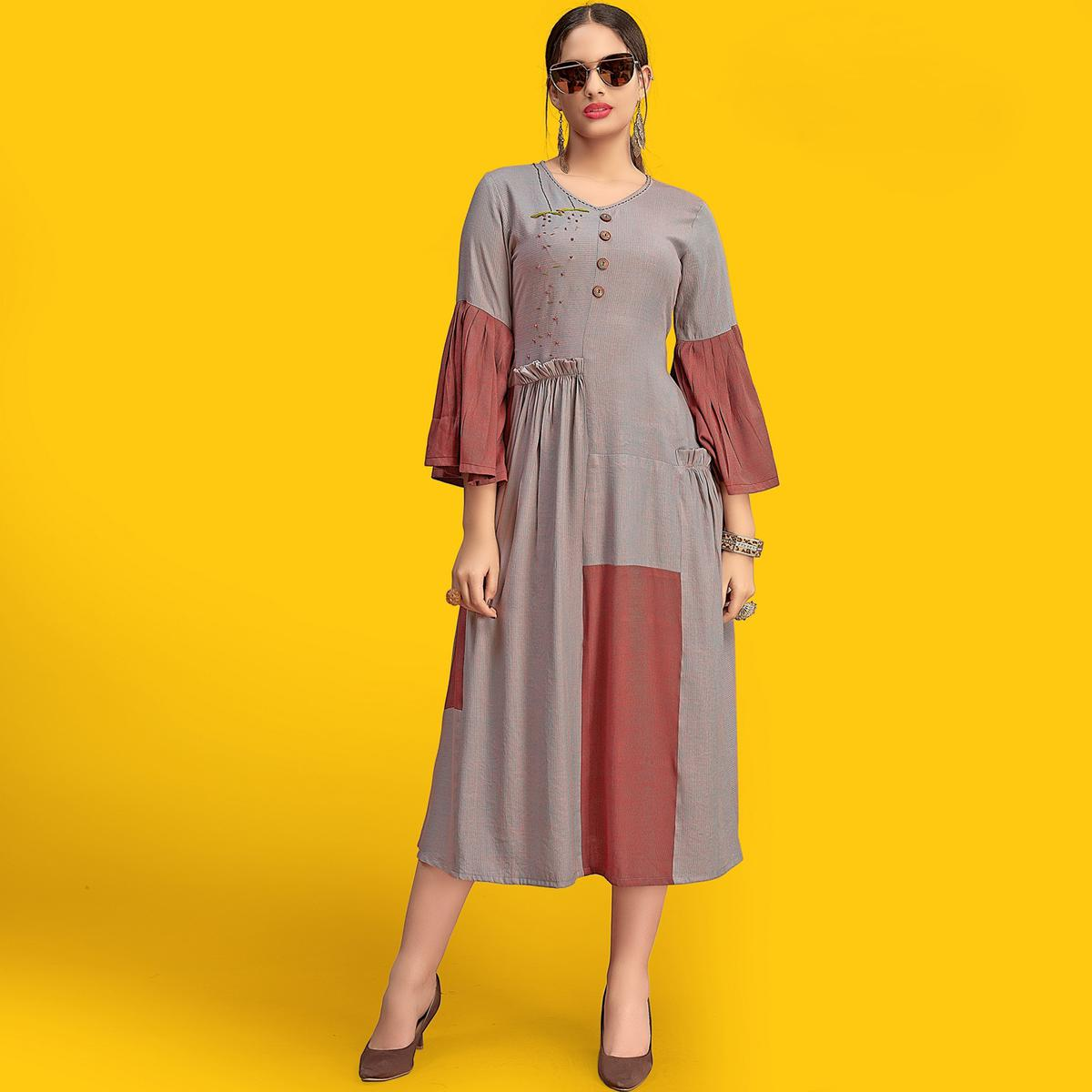 Delightful Grey Colored Party Wear Fancy Rayon Kurti