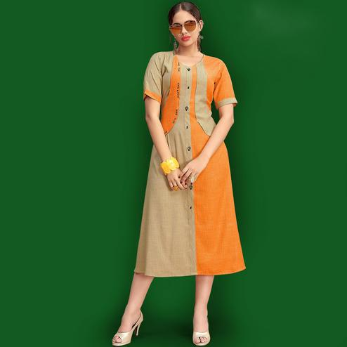 Stunning Orange Colored Party Wear Fancy Rayon Kurti
