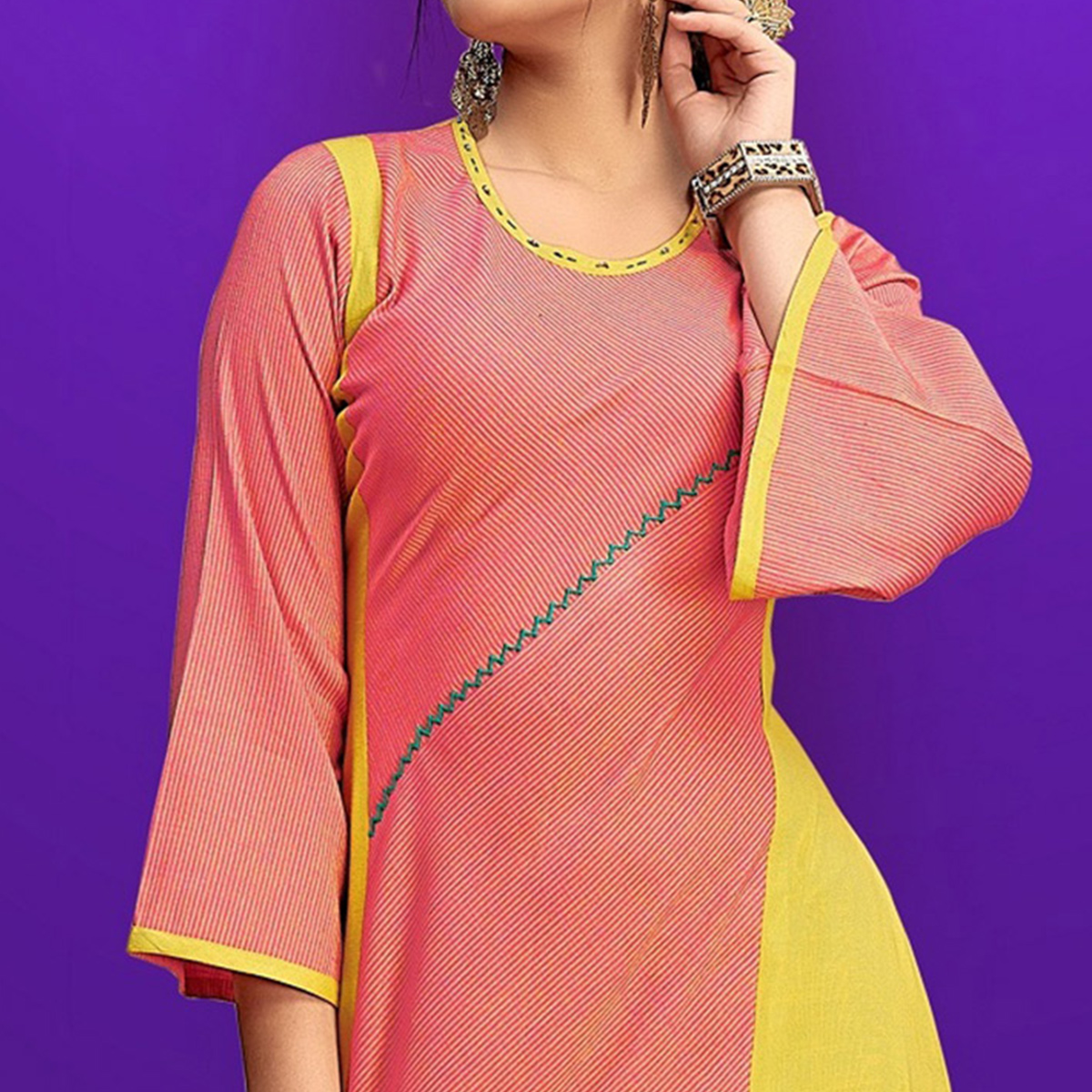 Blooming Peach Colored Party Wear Fancy Rayon Kurti