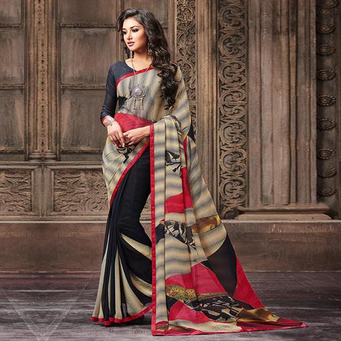 Intricate Black - Beige Colored Casual Wear Printed Georgette Saree