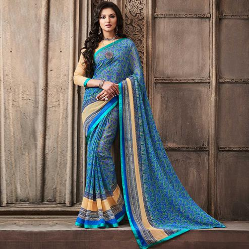 Desirable Blue Colored Casual Wear Printed Georgette Saree